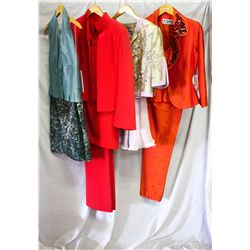 Lot [4] PIECES ASSORTED CLOTHING: [1] 3 pcs suit, size 8, [1] Lilac 3 pcs suit, size 8, [1] Coral 3
