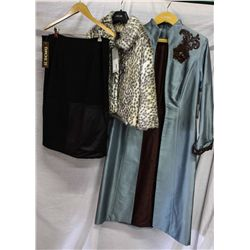 Lot [3] PIECES ASSORTED CLOTHING: [1] Lace sleeve knee coat, size 8, [1] Leopard fur, size 8, [1] Bl