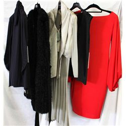 Lot [5] PIECES ASSORTED CLOTHING: [1] Red jersey dress, size 10, [1] Vest lace with zipper front, si