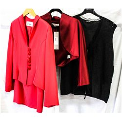 Lot [3] PIECES ASSORTED CLOTHING: [1] Lace zipper front, size 12, [1] Long sleeve satin bolero, [1]