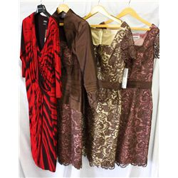 Lot [4] PIECES ASSORTED CLOTHING: [1] Lace dress over silk, size 12, [1] Lace dress over silk, size
