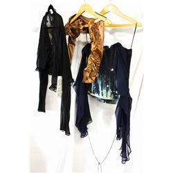 Lot [3] PIECES ASSORTED CLOTHING: [1] Navy corset, size 10, [1] Satin long sleeve shrug, [1] Black c