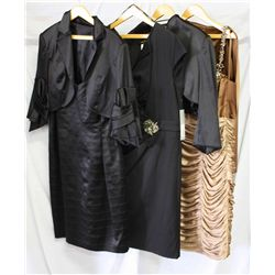 Lot [4] PIECES ASSORTED CLOTHING: [1] 2 tone pleat sdc, size 20, [1] Crystal waist dress, size 20, [