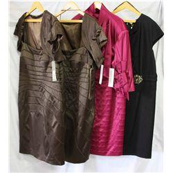Lot [4] PIECES ASSORTED CLOTHING: [1] Tadashi shoji crystal waist dress, size 22, [1]  Red Satin wit