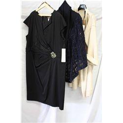 Lot [3] PIECES ASSORTED CLOTHING: [1] Wool coat, size XXL, [1] Tadashi Shoji, size 24q, [1] Lace cap