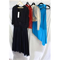 Lot [4] PIECES ASSORTED CLOTHING: [1] Red beaded bolero, size O/S, [1] Jersey Taaf dress, size O/S,