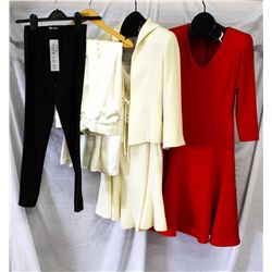 Lot [3] PIECES ASSORTED CLOTHING: [1] Red valentino style dress, size 4, [1]  Ivory jacket, skirt an