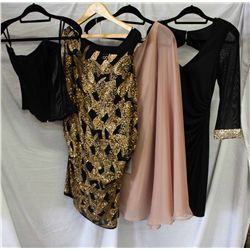 Lot [4] PIECES ASSORTED CLOTHING: [1] Faviana mesh sleeve with cuff, size 2, [1] One shoulder chiffo