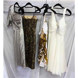 Lot [4] PIECES ASSORTED CLOTHING: [1] White silk chiffon dress, size XS, [1] White tee shirt, Size S