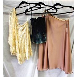 Lot [3] PIECES ASSORTED CLOTHING: [1] One shoulder chiffon, size S, [1] Denim corset, size 4, [1] On