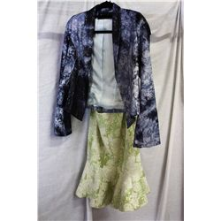 Lot [2] PIECES ASSORTED CLOTHING: [1] Denim sequins shirt, size 4, [1] Green pattern dress