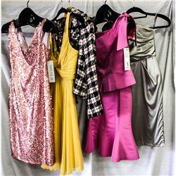Lot [5] PIECES ASSORTED CLOTHING: [1] One shoulder silk satin dress, size 6, [1] Off shoulder trumsk