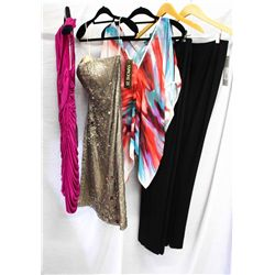 Lot [5] PIECES ASSORTED CLOTHING: [1] Wool skinny pants with zip side, size 6, [1] Black solid pant,