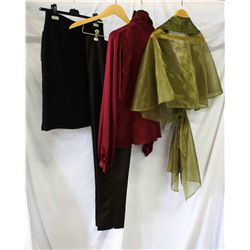 Lot [4] PIECES ASSORTED CLOTHING: [1] Olive shawl with sequins, Size 6, [1] Long sleeve tie neck blo