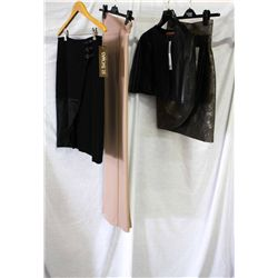 Lot [4] PIECES ASSORTED CLOTHING: [1] Grey metallic skirt bow belt, size 2, [1] Leather caplet, size