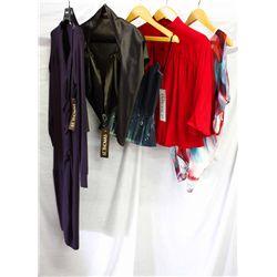 Description Change:Lot [5] PIECES ASSORTED CLOTHING: [1] Print V neck blouse, size XS, [1] Denim cor