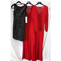 Lot [3] PIECES ASSORTED CLOTHING: [1] Red v neck knit long dress, size XS, [1] Red v neck knit long