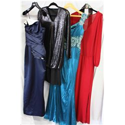 Description Change: Lot [4] PIECES ASSORTED CLOTHING: [1] Red v neck long sleeve dress, size S, [1]