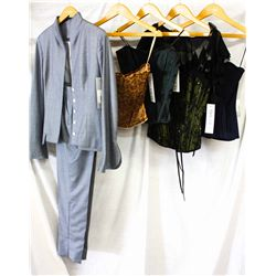 Lot [5] PIECES ASSORTED CLOTHING: [1] Corset with stone wash, size 4, [1] Black shrug, size S, [1] S