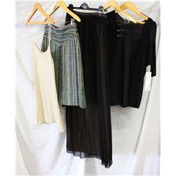 Description Change:Lot [5] PIECES ASSORTED CLOTHING: [1] Black top, size small, [1] Christophe