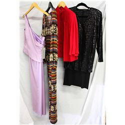 Lot [4] PIECES ASSORTED CLOTHING: [1] Black long sleeve sequins dress, size 4, [1] Drew amber button