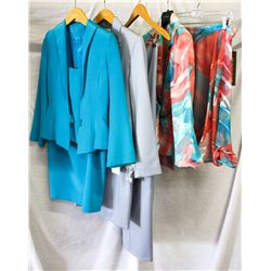 Lot [5] PIECES ASSORTED CLOTHING: [1] Pink print skirt, size 4, [1] Blue pants, size 8, [1] Light bl