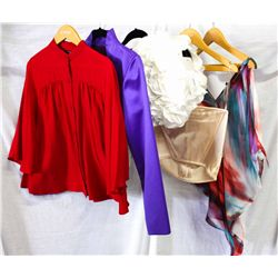Lot [5] PIECES ASSORTED CLOTHING: [1] Drew v neck blouse, size M, [1] Cream satin bustier, size 8, [