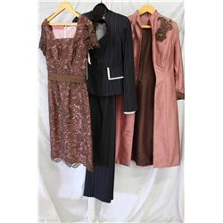 Lot [3] PIECES ASSORTED CLOTHING: [1] Raisin colored knee coat, size 6, [1] Jacket and pants, size 6
