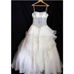 Lot [1] DRESS: [1] Off white gown with halter, corset and ruffles, size 8