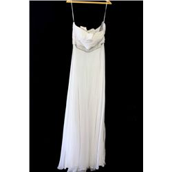 Lot [1] DRESS: [1] White one shoulder chiffon with beads, size 16