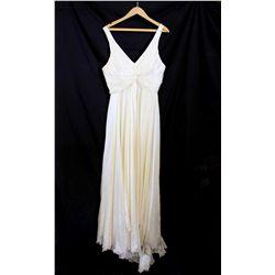 Lot [1] DRESS: [1] Ivory twist satin V neck gown, size 12