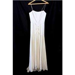 Lot [1] DRESS: [1] Ivory spaghetti strap bustier slit front gown, size 8