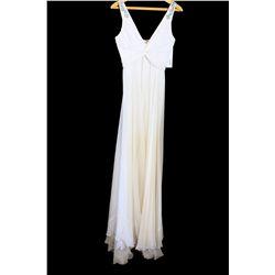 Lot [1] DRESS: [1] Yolanda white twist chiffon silver straps gown; Size 4