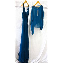 Lot [2] PIECES ASSORTED CLOTHING: [1] Teal chiffon silk gown, [1] Teal blouse shawl, size O/S