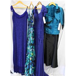 Lot [4] DRESSES: [1] Jewel bustier and bolero, size 8, [1] Royal pleated mesh gown, size 8, [1] Prin