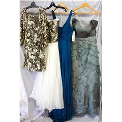 Lot [4] PIECES ASSORTED CLOTHING: [1] Sage jeweled waist chiffon gown, size 8, [1] Yolanda teal chif