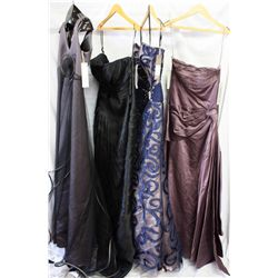 Lot [4] DRESSES: [1] Amethyst strapless gown, size 10, [1] Jovani embroidered print gown, size 10, [