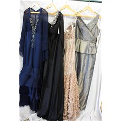 Lot [4] DRESSES: [1] Gold halter taffeta with sequins, size 10, [1] Full gown, size 10, [1] Jovani l