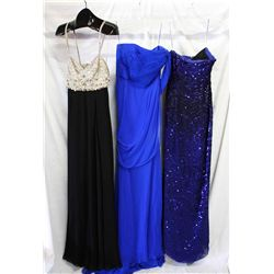 Lot [3] DRESSES: [1] Oscar de la rental, size 6, [1] Jason Wu dress, [1] Black chelsea gown, size 6