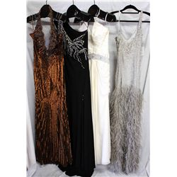Lot [4] DRESSES: [1] Platinum one shoulder feather dress, size 6, [1] White halter top gown, size 6,