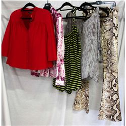Lot [5] PIECES ASSORTED CLOTHING: [1] Snake print wide leg jeans, size 8, [1] Drew snake print shirt