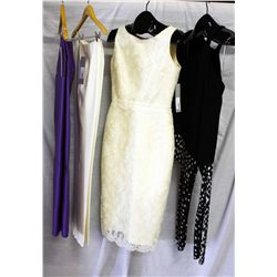 Lot [4] PIECES ASSORTED CLOTHING: [1] Black open one shoulder jersey top, size M, [1] Ivory silk woo