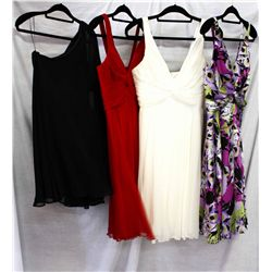 Lot [4] PIECES ASSORTED CLOTHING: [1] Yolanda silk charm print dress, size M, [1] Short dress knot c
