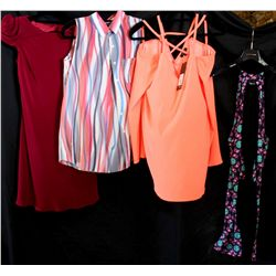 Lot [4] PIECES ASSORTED CLOTHING: [1] Black print halter dress, size L, [1] Drew coral jodee sleevel