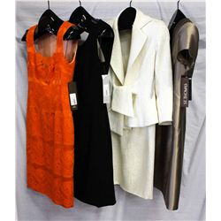 Lot [4] PIECES ASSORTED CLOTHING: [1] Beige v neck dress, size 8, [1] LouisB Ivory brocade tie jacke