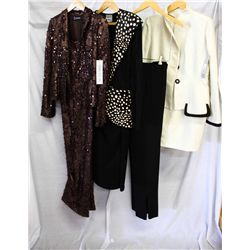 Lot [4] PIECES ASSORTED CLOTHING: [1] Satin jacket and skirt, size 8, [1] Black pant, size 8, [1] Ma