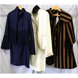 Lot [3] PIECES ASSORTED CLOTHING: [1] Bronze velvet stripe swing knee coat, size M, [1] Tweed gold t