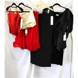 Lot [5] PIECES ASSORTED CLOTHING: [1] Black pony corset, size 8, [1] Long straight black skirt, size