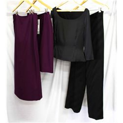 Lot [4] PIECES ASSORTED CLOTHING: [1] Black palazzo pant, size 8, [1] Black silk camisole, size 8, [