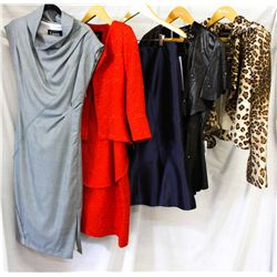 Lot [5] PIECES ASSORTED CLOTHING: [1] Leopard print jacket, size 8, [1] Black lamb skin rhinestone c